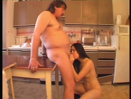 Old fat dad fuck his daughter in all virgin holes