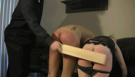 Spanked ass two beautiful pussies
