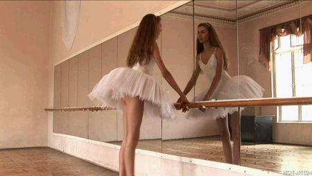 very beautiful ballerina shows that under a dress