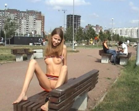 Public striptease Russian horny young girls!